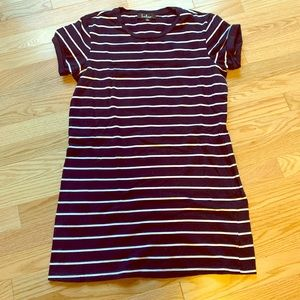 Blue and white striped T-shirt dress
